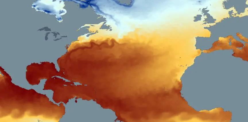 Atlantic sea surface temperature map