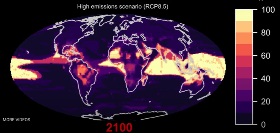global map of biodiversity risk by 2100 - RCP8.5 climate warming