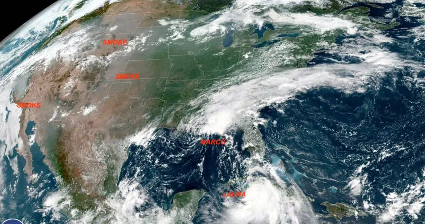 hurricanes and wildfire smoke from space