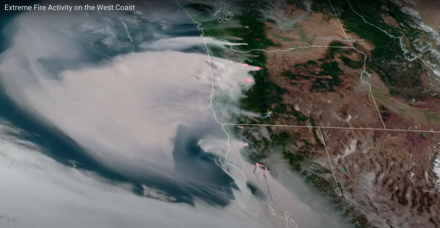 satellite image of California wildfire smoke over the Pacific