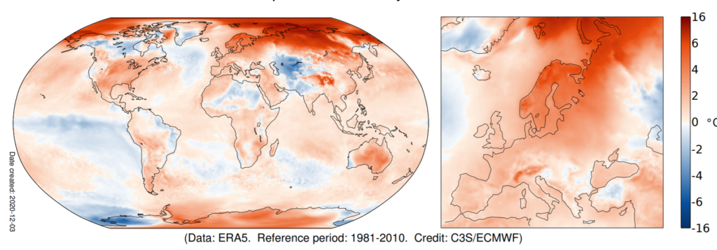 November global temperature map