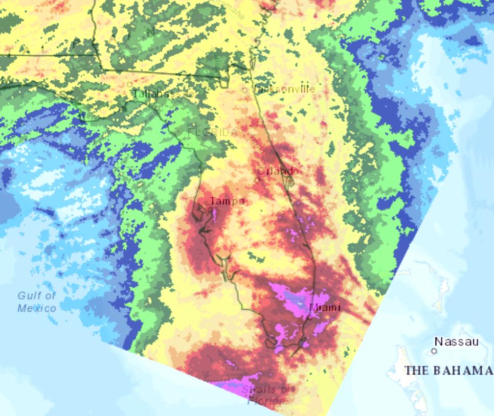 Tropial Storm Eta precipitation map