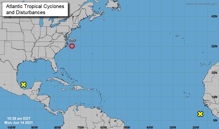 Atlantic tropical cyclones June 14, 2021