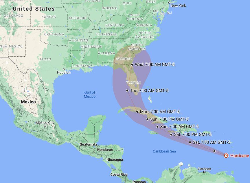 Hurricane Elsa map
