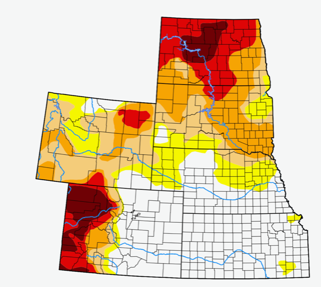 drought map for High Plains states