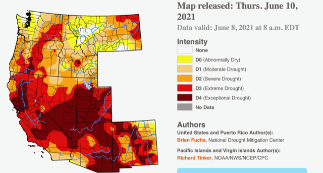 Drought map of western US