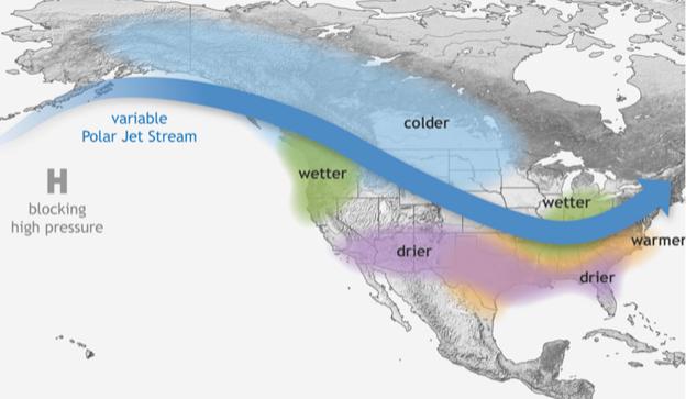 La Nina jet stream over North America