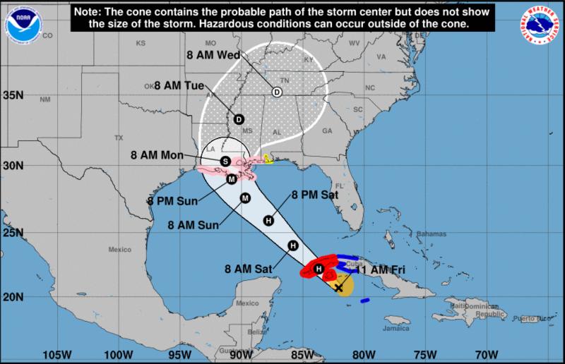 Hurricane Ida forecast track 8-27-2021